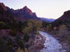 Virgin fiume utah | ... Looms over the Virgin River at Sunset, Zion National Park, Utah, USA