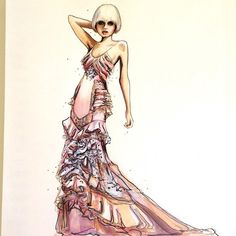 fashion illustration Versace and Abbey Lee Kershaw- Jessica Rae Sommer