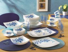 With the Blue Palm collection, we've got the cool blue tones and the tropical palm elements for a set that will take your imagination to an exotic tranquil island. http://www.facebook.com/Luminarcinternational