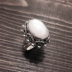 """Sterling Silver & Moonstone Ring Stamped """"925 MA-196"""". Manufacturers ID  This is not a stock photo. The image is of the actual article that is being sold  Size: 6  Sterling silver is an alloy of silver containing 92.5% by mass of silver and 7.5% by mass of other metals, usually copper. The sterling silver standard has a minimum millesimal fineness of 925.  All my jewelry is solid sterling silver. I do not plate.   Hand crafted in Taxco, Mexico.  Will ship within 2 days of order. Jewelry…"""
