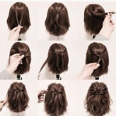 25 fast hairstyles for medium and long hair for every day. 25 fast hairstyles for medium and long hair for every day. 25 fast hairstyles for medium and long hair for every day. 25 fast hairstyles for medium and long hair for every day. Short Hair Styles Easy, Braids For Short Hair, Medium Hair Styles, Curly Hair Styles, Long Ponytails, Twisted Ponytail, Hair Medium, Styling Short Hair Bob, How To Style Short Hair