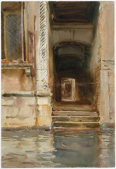 Venetian Passageway, ca. 1905, watercolor, gouche and graphite on white wove paper, American, Sargent