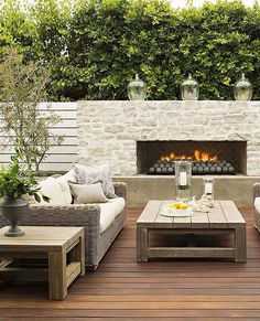 Like the concrete spheres would prefer a smoother face- maybe concrete for modern minimal look 53 Most amazing outdoor fireplace designs ever