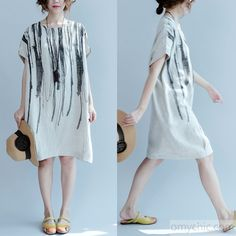 2017 Summer Nude Linen dress for summer plus size linen clothing causal loose shift dressesThis unique deisgn deserves the best quality texture. The fabric of this article is soft, comfortable and breathy. Simple Dresses, Plus Size Dresses, Plus Size Outfits, Casual Dresses, Linen Dress Pattern, Dress Patterns, Dress For Summer, Summer Dresses, Shift Dresses