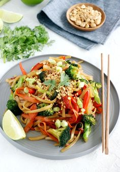 Pad Thai is a Thai noodle dish made of rice noodles, protein, and stir-fry vegetablesall tossed in an amazing sweet and sour Pad Thai sauce!This easy Pad Thai version is ready in minutes and do not require any fancy ingredients. Instead, I went for vegetables exclusively. Then, it's up to you to add some protein of your choice – or not. #padthai #vegan #veganrecipes #veggies #healthyrecipes #eattherainbow Veggie Fries, Veggie Stir Fry, Veggie Food, Easy Pad Thai, Vegan Pad Thai, Pad Thai Sauce, Fried Broccoli, Tofu Recipes, Healthy Recipes