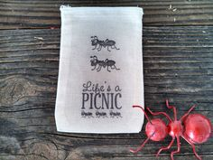 Life is a Pincnic Ant Favor Bag Outdoor Wedding by SweetThymes