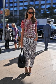 New York Fashion Week street style, print mix