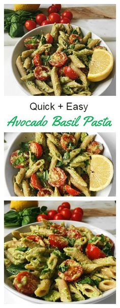 Quick and Easy Basil Avocado Pasta | Vegan + Gluten free