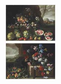 Watermelons, peaches, pears and other fruit in a landscape; and Chrysanthemums, tulips, irises and other flowers and fruit in a landscape