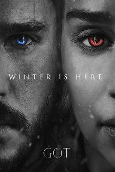Winter is Here Jon Snow and Daenerys Targaryen Khaleesi promo poster GoT Game of Thrones Game Of Thrones Brasil, Art Game Of Thrones, Dessin Game Of Thrones, Game Of Thrones Winter, Game Of Thrones Quotes, Game Of Thrones Funny, Game Of Thrones Promo, Game Of Thrones Tyrion, Jon Snow And Daenerys