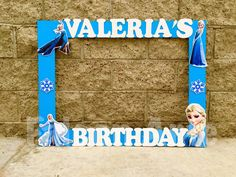 Frozen Birthday Photo Prop Photo Frame for Birthday Parties Handcrafted from wood Frozen Birthday Frame Guest pictures Frozen Frame by RosiesPoshParties on Etsy https://www.etsy.com/listing/266158758/frozen-birthday-photo-prop-photo-frame