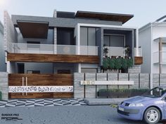 New Ideas For Exterior Perspective Architecture Building Modern Exterior House Designs, Bungalow Exterior, Dream House Exterior, Modern House Design, Exterior Design, 3 Storey House Design, Duplex House Design, House Front Design, House Architecture Styles