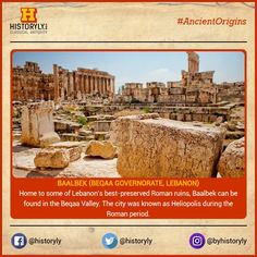 #AncientOrigins Baalbek, properly Baʿalbek and also known as Balbec, Baalbec or Baalbeck, is a town in the Anti-Lebanon foothills east of the Litani River in Lebanon's Beqaa Valley, about 85 km northeast of Beirut and about 75 km north of Damascus. #History #Ancient #Archaeology #Ruins