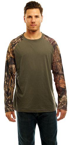 Men's Mossy Oak Raglan Long Sleeve Cotton T-Shirt