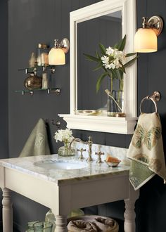 Benjamin Moore Witching Hour. Love this for a guest bathroom.