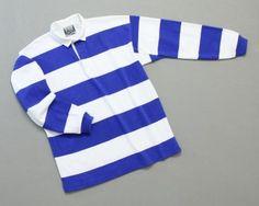 Mns Hoop Stripe Rugby Royal White