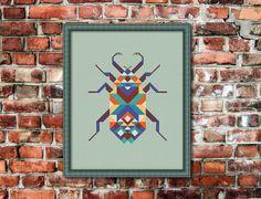 Geometric Beetle  , Counted Cross stitch, Pattern PDF, Cross Stitch Chart , Cute Cross Stitch, Cross stitch pattern, pixel art, 0239