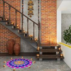 Diwali Lights in Home Decor - Bindu Gopal Rao, Freelance Writer & Photographer Staircase Wall Decor, Stair Walls, Staircase Design, Foyer Staircase, Stair Design, Staircase Ideas, Brick Walls, Brick Design, Wall Design