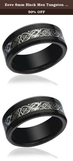 Eove 8mm Black Men Tungsten Wedding Band Inlaid Celtic Dragon Pattern Beveled Edges Comfort fit Wedding Ring. Why choose Tungsten Jewellery? Tungsten Rings are the most wear-resistant available on the planet. Tungsten is about 10 times harder than 18K Gold,and 4 times harder than titanium. Tungsten measures between 8 and 9 on the Mohs hardness scale. (Diamonds are a 10 - the highest.) Due to their extreme hardness, Our Tungsten Rings will hold their shape and shine longer than any ring on...