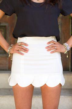 Navy & White scalloped skirt