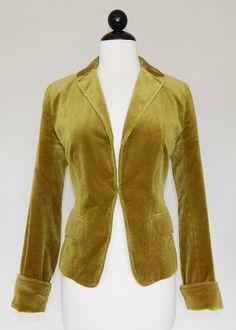 J. CREW Green Velvet Hook Front Ecole Riding Jacket Blazer Lined - Size 4 6 ? #JCrew #BasicJacket