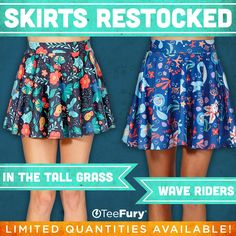 """RESTOCKED """"In The Tall Grass"""" & """"Wave Riders"""" by GemmaRoman are available again on TeeFury!"""