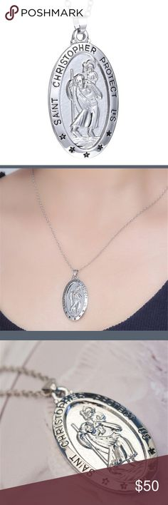 Beautiful Silver Saint Christopher Necklace For Protection Jewelry Necklaces