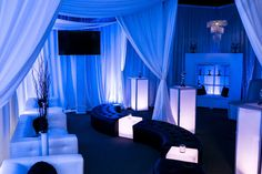 Pipe and drape cabana, lounge furniture, led cocktail tables and cubes, uplighting and flat screens for mitzvahs, sweet sixteens and corporate gatherings in Maryland, DC and Virginia