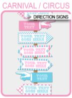 Carnival Party Directional Signs – Arrows – pink/aqua