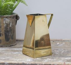 Art Deco Brass Jug Vase - Bring It On Home