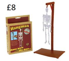 Hangman Gallows A humorous gift for any fan of this classic word game. 14 pieces combine to create a hanging skeleton. For children 3 years and over due to small parts. Measurements when assembled: H29.5cm x W15cm x D10.5cm. COLLECTION/DELIVERY FROM ABERDEEN OR DIRECT DISPATCH VIA PAYPAL/CARD PAYMENT (£3.95 delivery) PM/COMMENT FOR DETAILS.