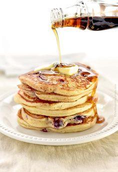 Yogurt Blueberry Pancakes Recipe | http://shewearsmanyhats.com/yogurt-blueberry-pancakes-recipe/