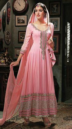 Pink Abaya Style Anarkali Salwar Kamij . Shop at - http://www.gravity-fashion.com/pink-abaya-style-anarkali-salwar-kamij-gf9140365.html