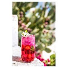 prickly pear, strawberry, and basil Italian soda