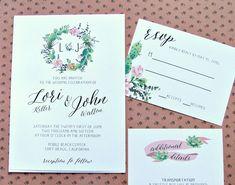 Succulent Wedding Invitation,Garden Wedding, Bohemian Wedding, Outdoor Wedding Invitation, Floral Wreath