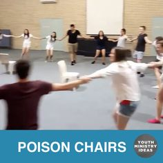 Poison Chairs. Like Kajabe Can Can but there are a bunch more objects to avoid. Have everyone hold hands and try to pull each other in to objects in the middle. Once you hit an object you're out. Last one in wins. Video by @ignite_mobc A post shared by Youth Ministry Ideas (@youthministryideas) on Nov …