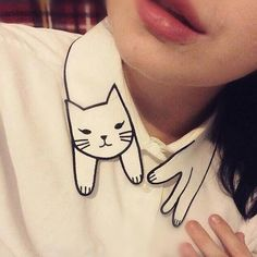 """Japanese cute cat embroidered white shirt - Use the code """"batty"""" at Sanrense for a 10% discount!"""