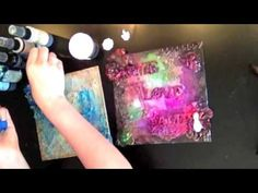 ▶ Swirlydoos kit club - Tutorial - Mixed Media Canvas Using Mod Melts - YouTube  Created by Andie Templeton