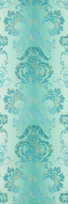 Kashgar Wallpaper A traditional damask shaded wallpaper in jade with a contemporary metallic detail.