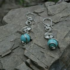 Handmade earrings turquoise stone
