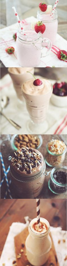 """Best collection of healthy but delicious protein shakes and smoothies: Strawberry Banana, Chocolate Covered Cherry, Almond Joy """"Milkshake"""", Banana Bread"""