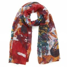 Splashes of Colour £8.50 A colourful scarf with a large paint brush design...it's a piece of art Dimensions: 90 X 180 cm Materials: 100% Polyester