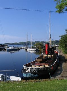 The Crinan Canal runs for 9 miles from Ardrishaig in the east to Crinan in the west, bypassing the long sea passage round the Mull of Kintyre.