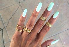 Mint Green Matt Nails Rings Gold Jewellery Heather Sanders