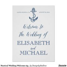 Nautical Wedding Welcome sign, navy blue and white Poster