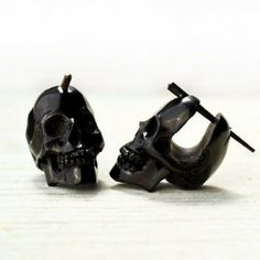 Skull Post Earrings Hand Carved Black Horn Hoop Earrings Tribal Style - Gauges Plugs Horn - H from organicethnic. Saved to Stick Earrings - Organic. Skull Jewelry, Cute Jewelry, Body Jewelry, Jewelry Box, Jewelry Accessories, Jewlery, Black Jewelry, Hippie Jewelry, Silver Jewellery