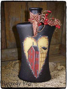 **~Hand Painted Primitive Saltbox House Bottle~** $14