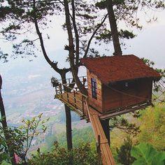 A hidden place called Omah Kayu. A few kilometers from Batu City. Located at Wisata Paralayang Gunung Banyak, East Java, Indonesia