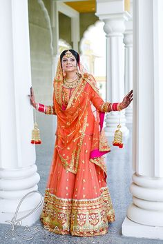 Desi Weddings coral peach lehenga #bridallehenga #desi