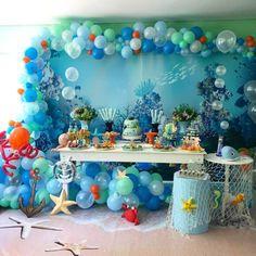 fundo do mar black color ral code - Black Things Spongebob Birthday Party, Baby Boy 1st Birthday Party, Baby Party, First Birthday Parties, Birthday Party Decorations, Turtle Birthday Parties, Mermaid Birthday, Inspiration, Baby Shark